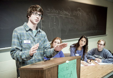 Student presenting to a class